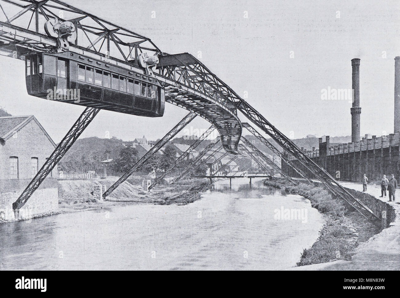 Wuppertal-Barmen-Elberfeld Suspension Railway, Ruhr region, Germany,  Picture from the French weekly newspaper l'Illustration, - Stock Image