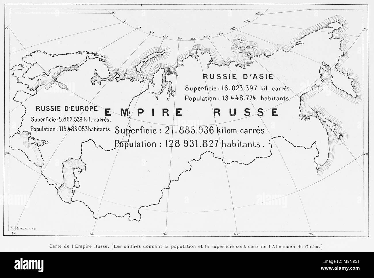Map of the Russian Empire in 1900, Picture from the French weekly newspaper l'Illustration, 27th October 1900 - Stock Image