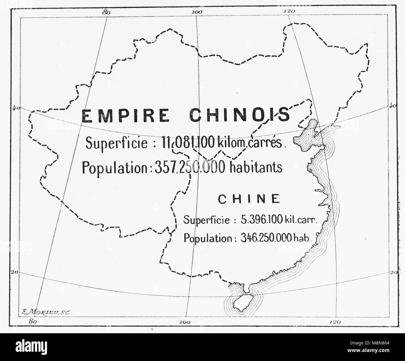 Map of the Chinese Empire in 1900, Picture from the French weekly newspaper l'Illustration, 27th October 1900 - Stock Image
