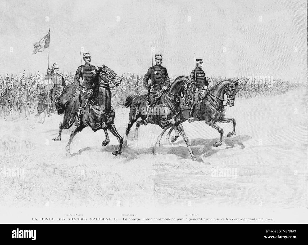 Final horses charge during the 1900 French military exercise, Picture from the French weekly newspaper l'Illustration, - Stock Image