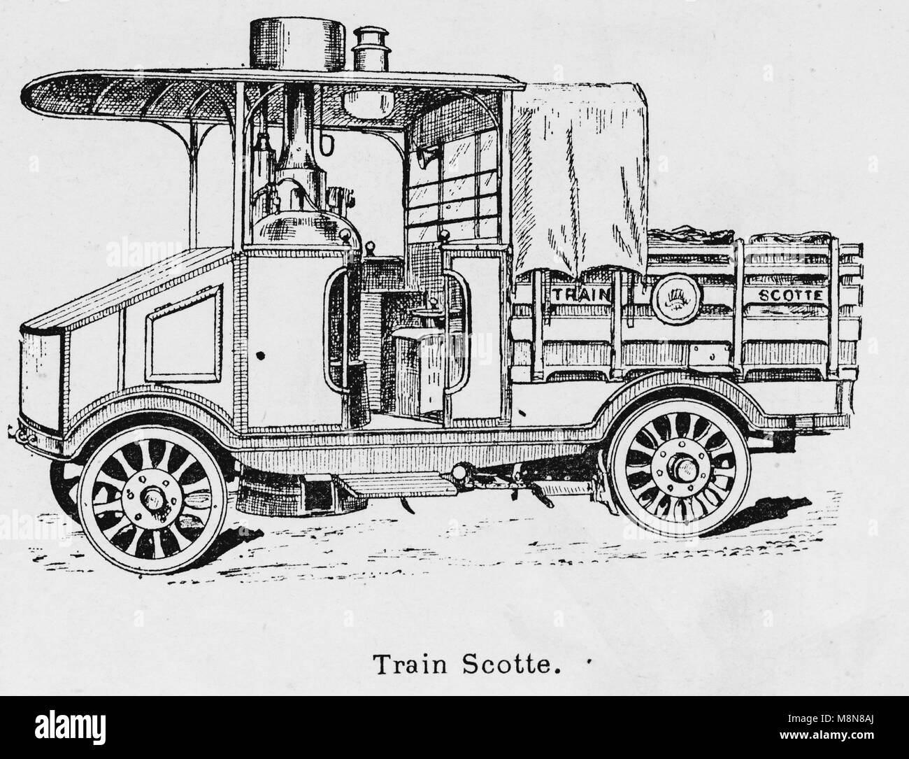 Military vehicles during the 1900 French military exercise, Scotte steam engine car, Picture from the French weekly - Stock Image