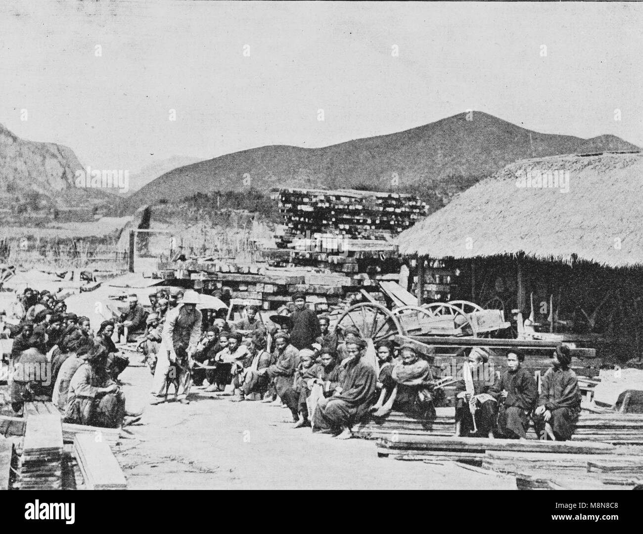 Inauguration of the railway constructed by the France between Hanoi and China in 1900, Picture from the French weeklyStock Photo