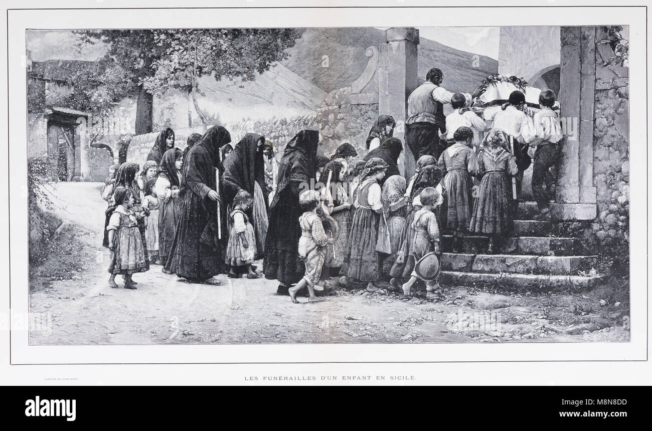Burial of a child in Sicily, Picture from the French weekly newspaper l'Illustration, 3rd November 1900 - Stock Image