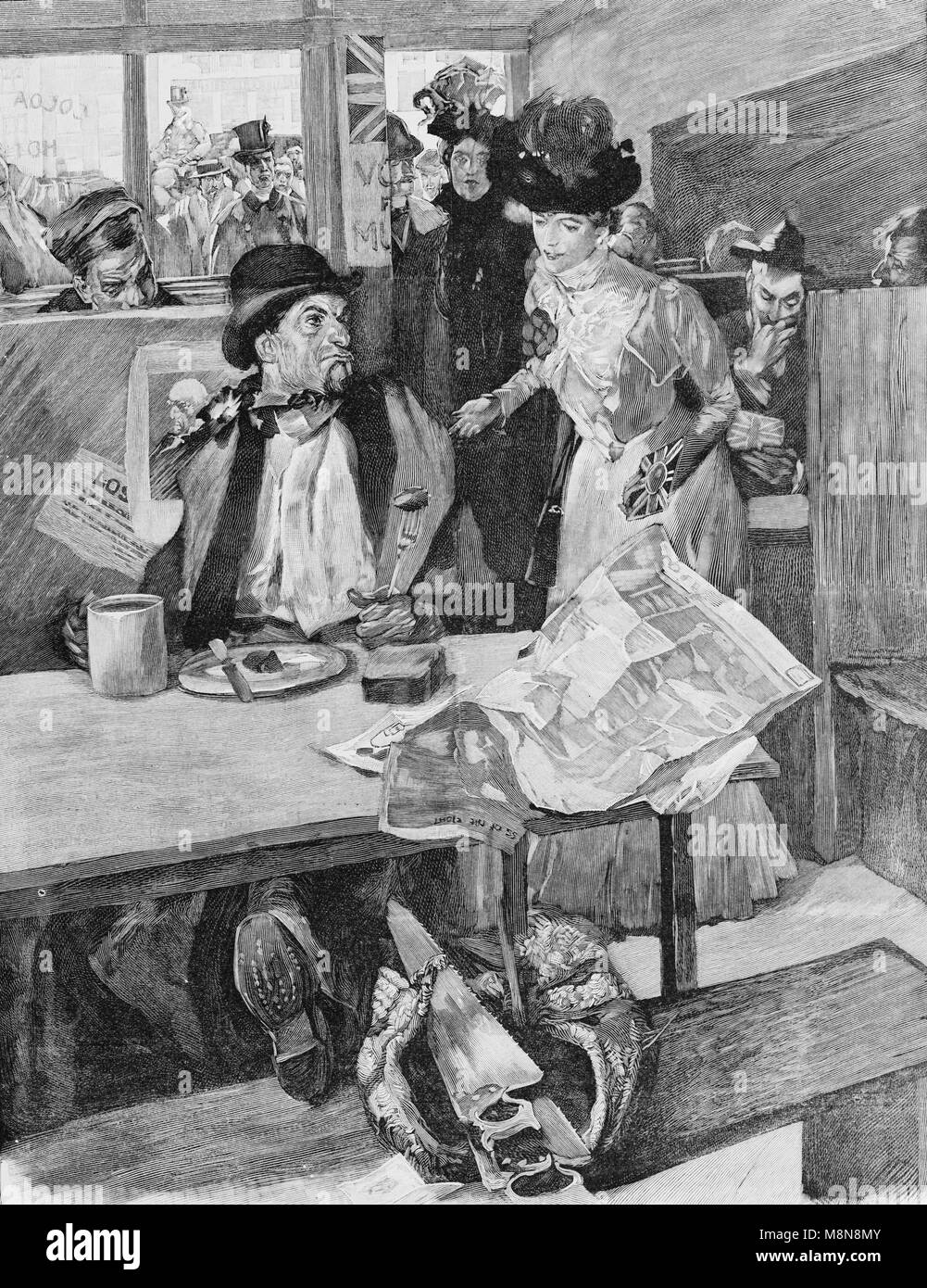 Lady making electoral propaganda in a British pub, Picture from the French weekly newspaper l'Illustration, - Stock Image