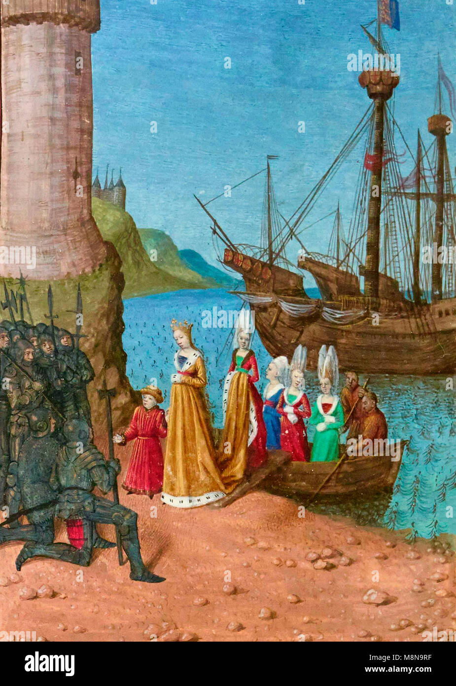 Return of Isabelle from France to England. Landing at Harwick Harbor, Isabelle de France, wife of Edward II of England, - Stock Image
