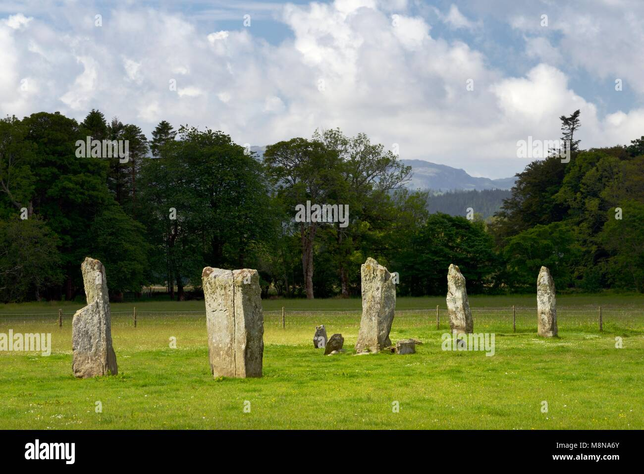 Nether Largie prehistoric Neolithic standing stones stone alignment seen from the north. Kilmartin Valley, Argyll, - Stock Image