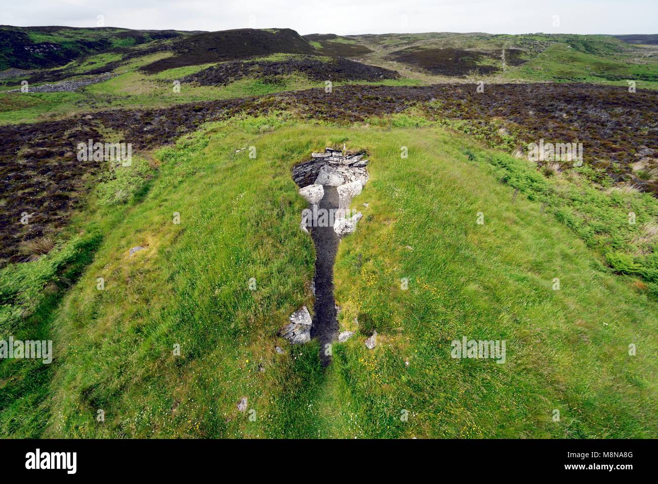 The Cairn of Get 5000 year prehistoric tomb burial chambered cairn. Whaligoe, Caithness, Scotland - Stock Image