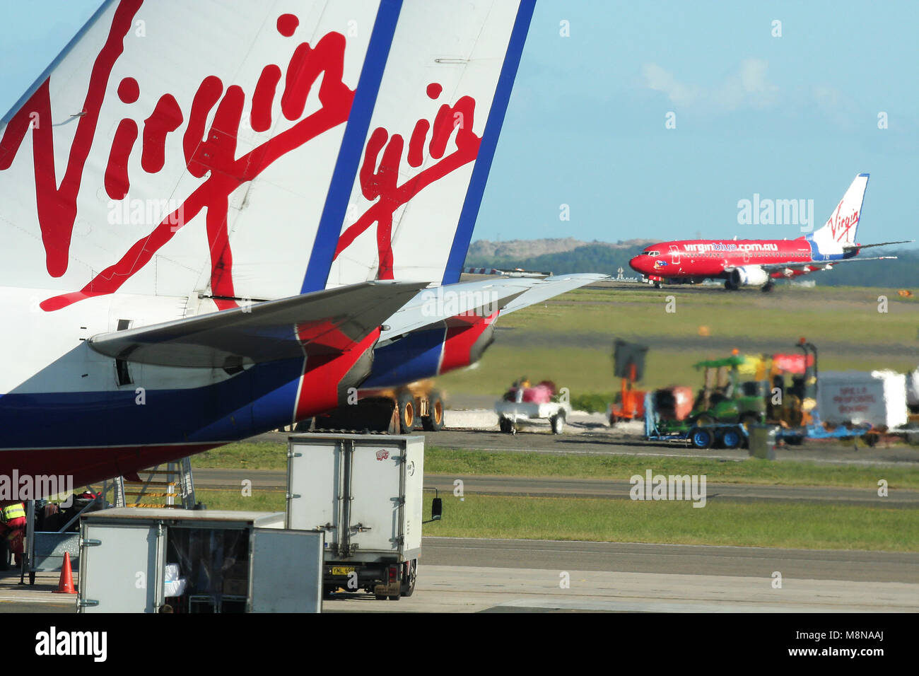 Virgin planes, Sydney Airport, New South Wales, Australia - Stock Image