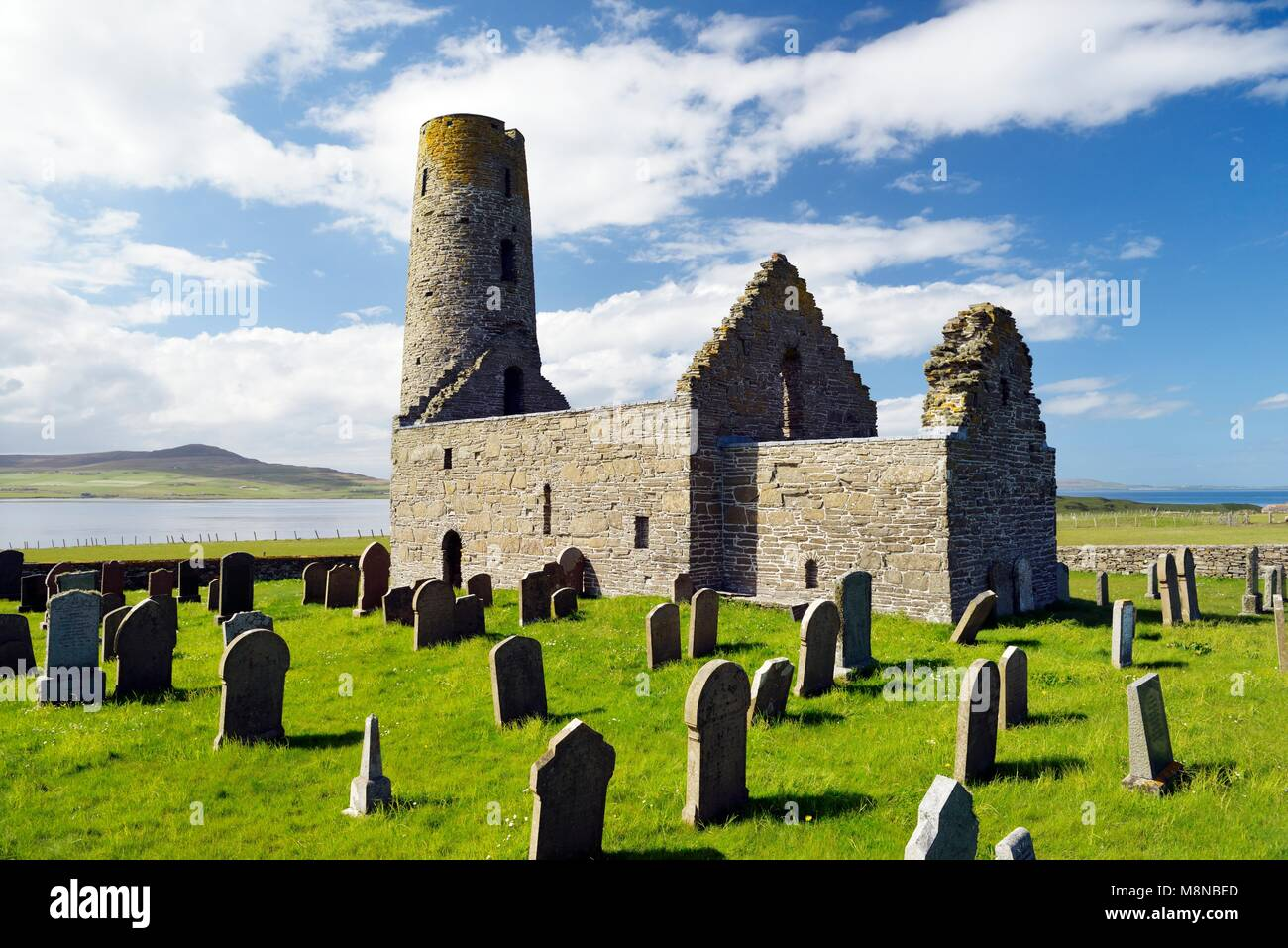 Saint St. Magnus Church, Egilsay, Orkney Islands, Scotland. 12th C Viking Norse round bell-tower tower Christian Stock Photo