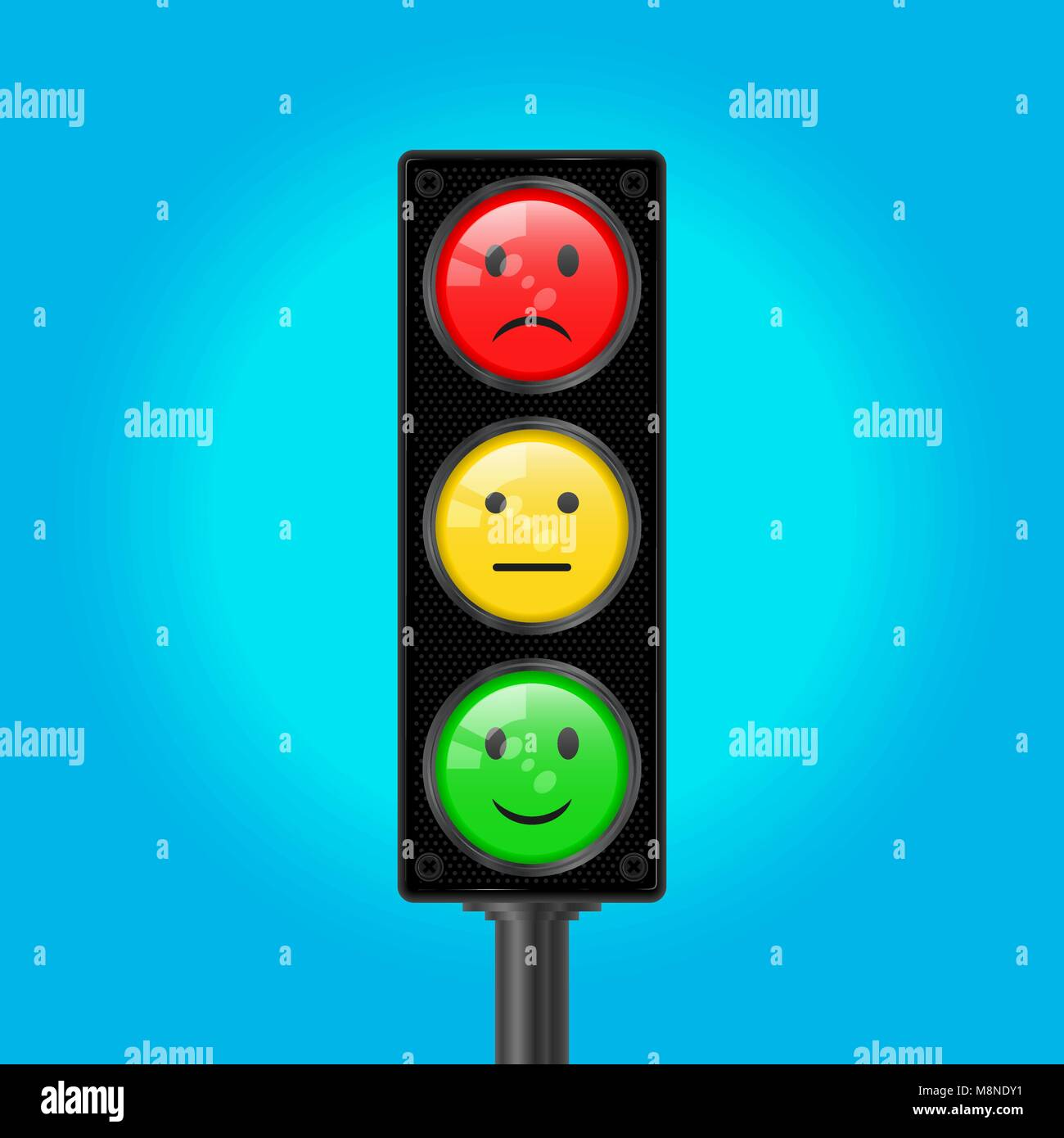 Traffic Lights with Emoticons, Vector Illustration Stock Vector
