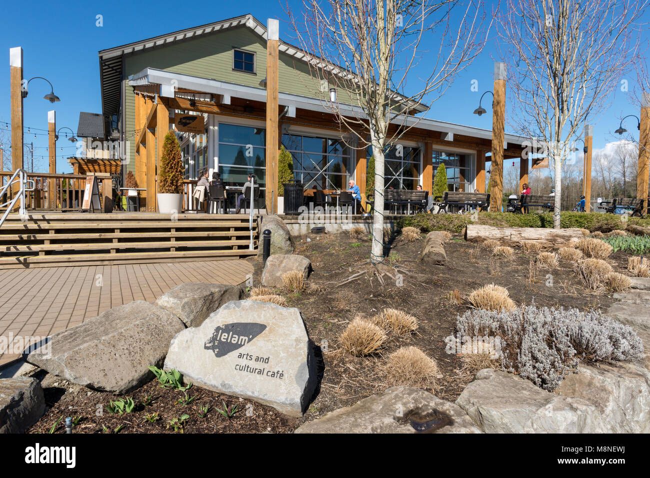First Nations owned Lelem Arts & Cultural Cafe in Fort Langley, British Columbia. - Stock Image