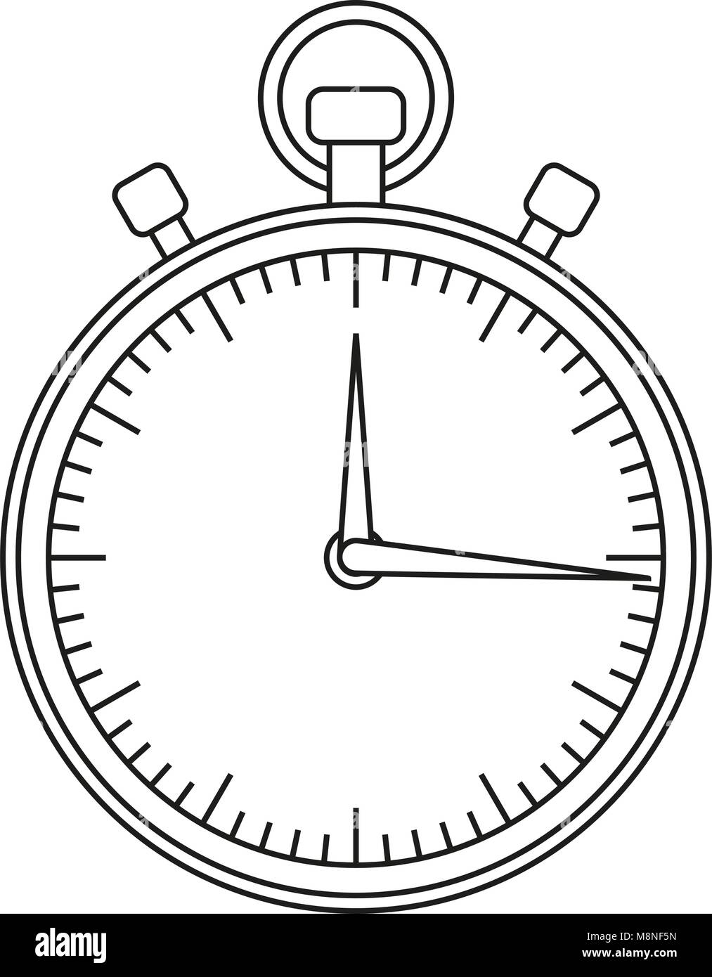 Line art black and white sport timer icon. - Stock Image