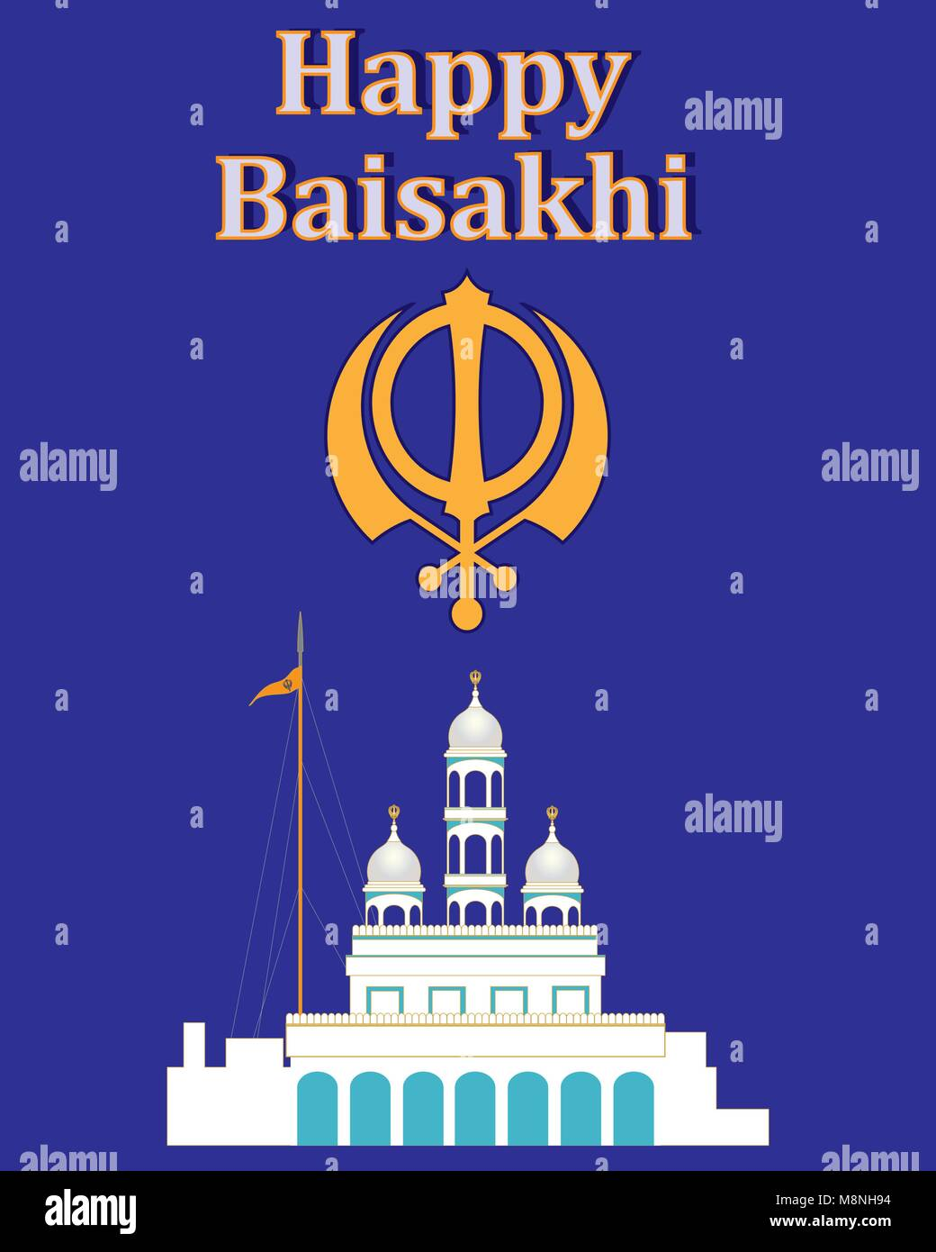 a vector illustration in eps 10 format of a greeting card celebrating the Sikh festival of Baisakhi with a white - Stock Vector