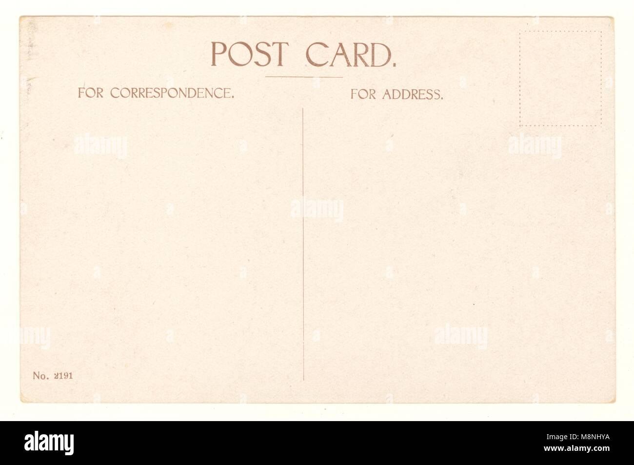 Reverse of WW1 era postcard, U.K - Stock Image