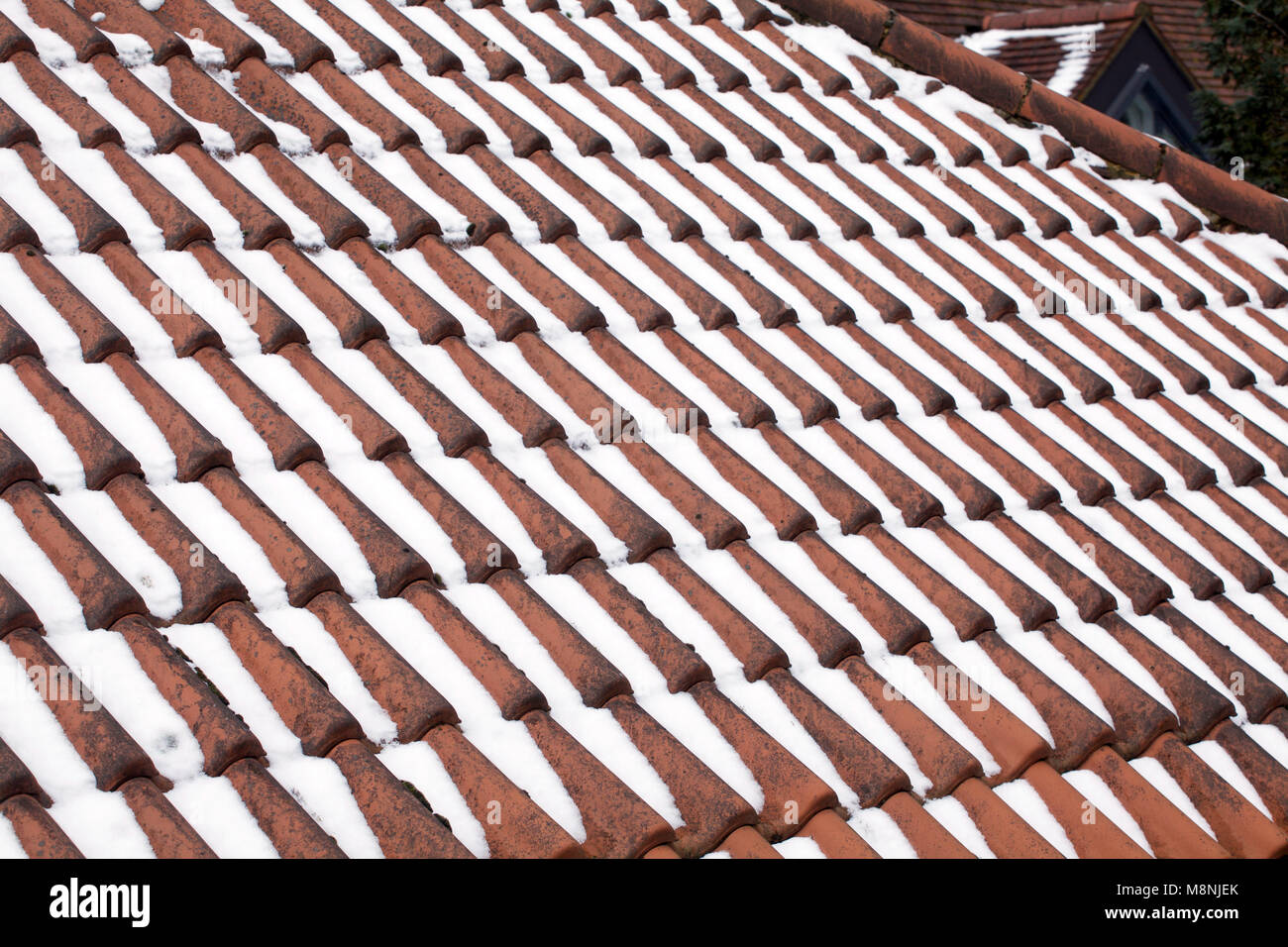 Roof tiles with recent snow fall covering them in winter - Stock Image