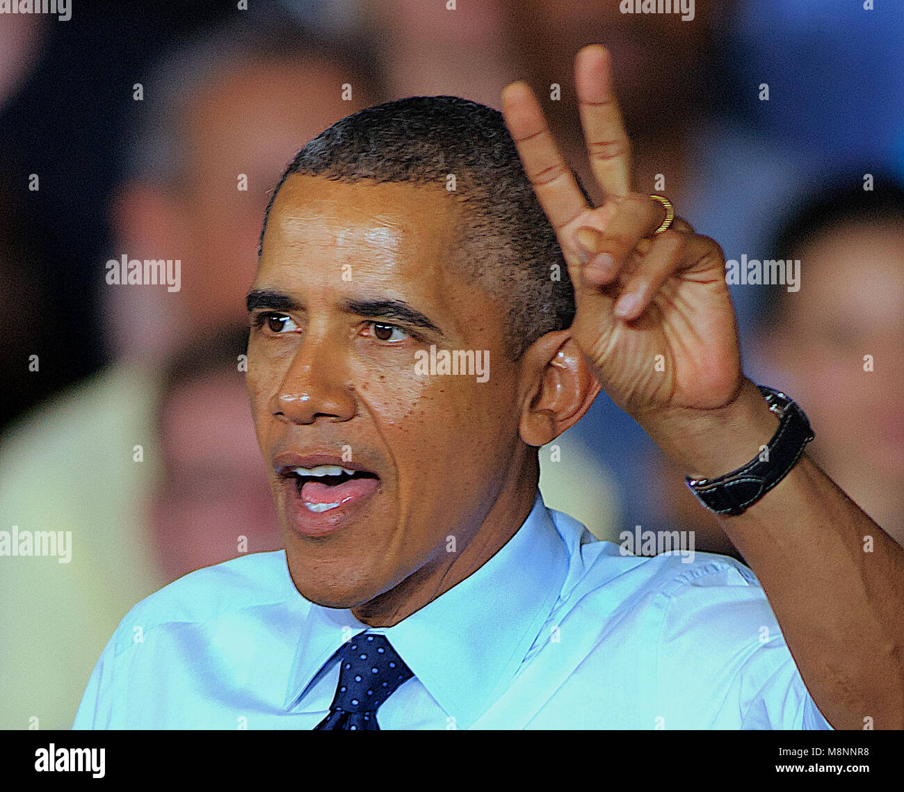 Liberty Missouri, USA, September 20, 2013. President Barak Obama at the Ford Stamping Plant. President Obama while - Stock Image