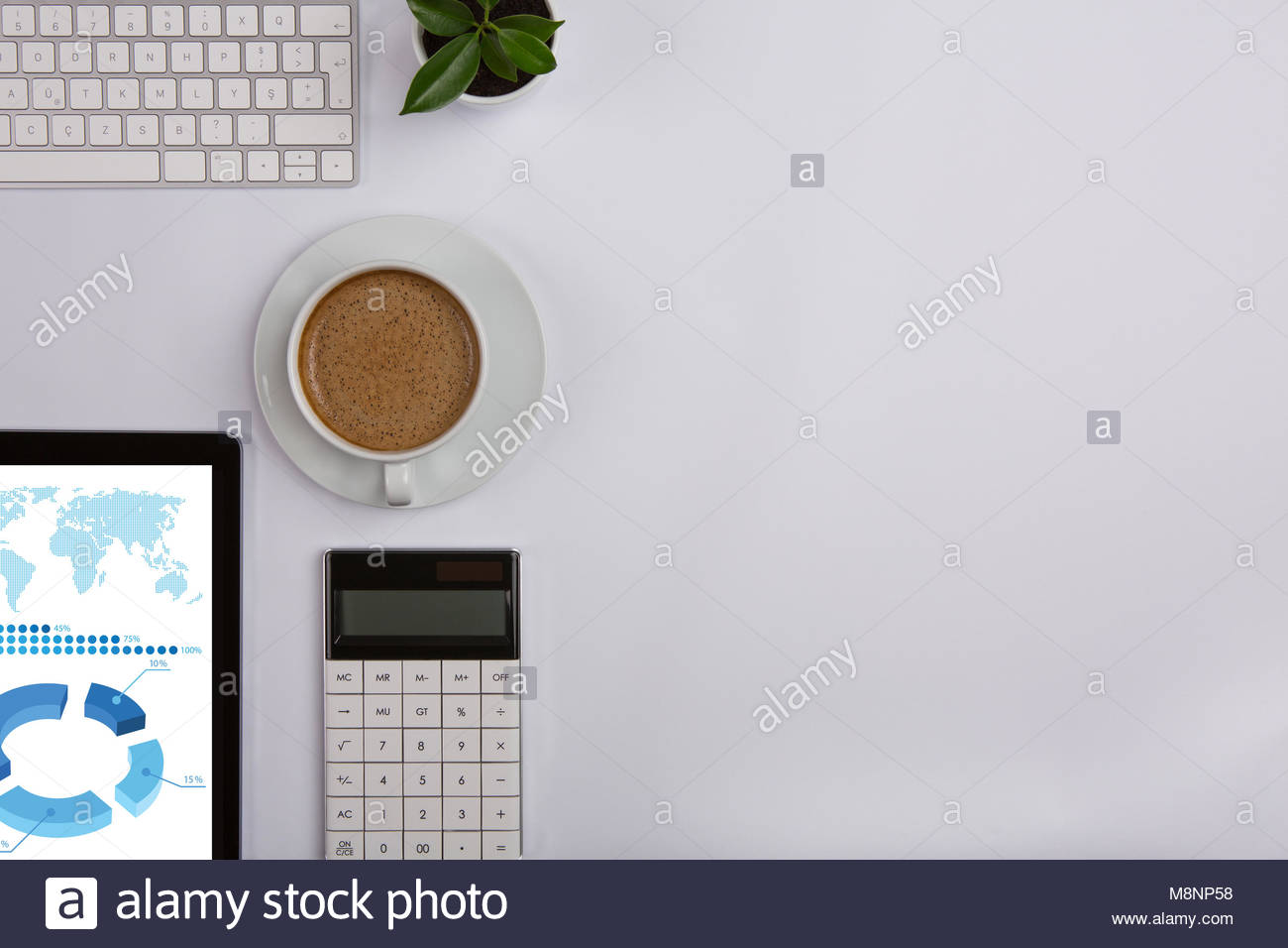 Modern Working Place on White Office Desk - Stock Image