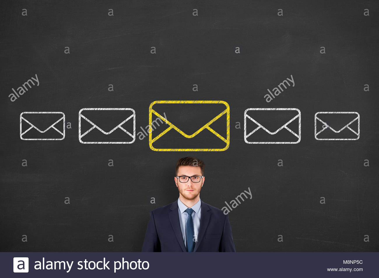 Email marketing, newsletter and bulk mail concepts on blackboard - Stock Image