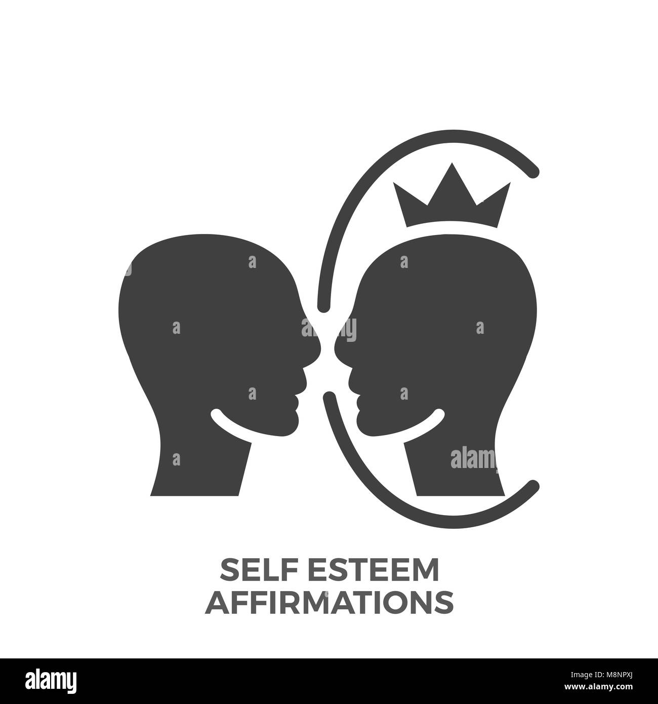 Self Esteem Affirmations Glyph Vector Icon Isolated on the White Background. - Stock Image