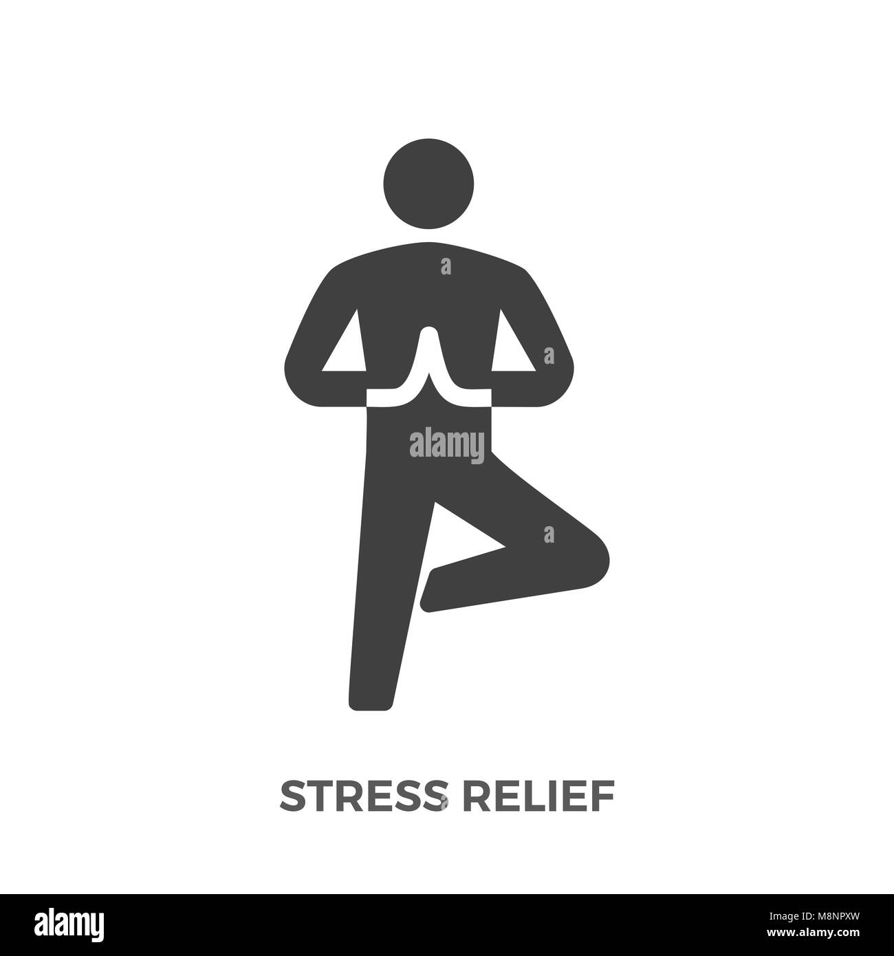 Stress Relief Glyph Vector Icon Isolated on the White Background. - Stock Image