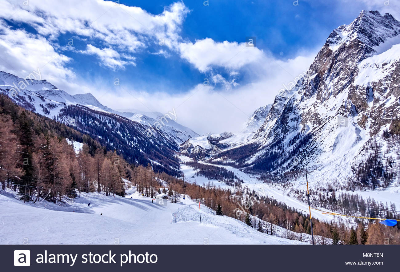 courmayeur (italy) is a very popular ski resort in europe stock