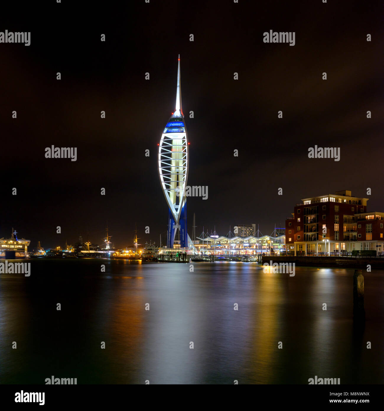 View of Spinnaker Tower by night from Old Portsmouth near the Still and West, Gunwharf, Portsmouth UK Stock Photo