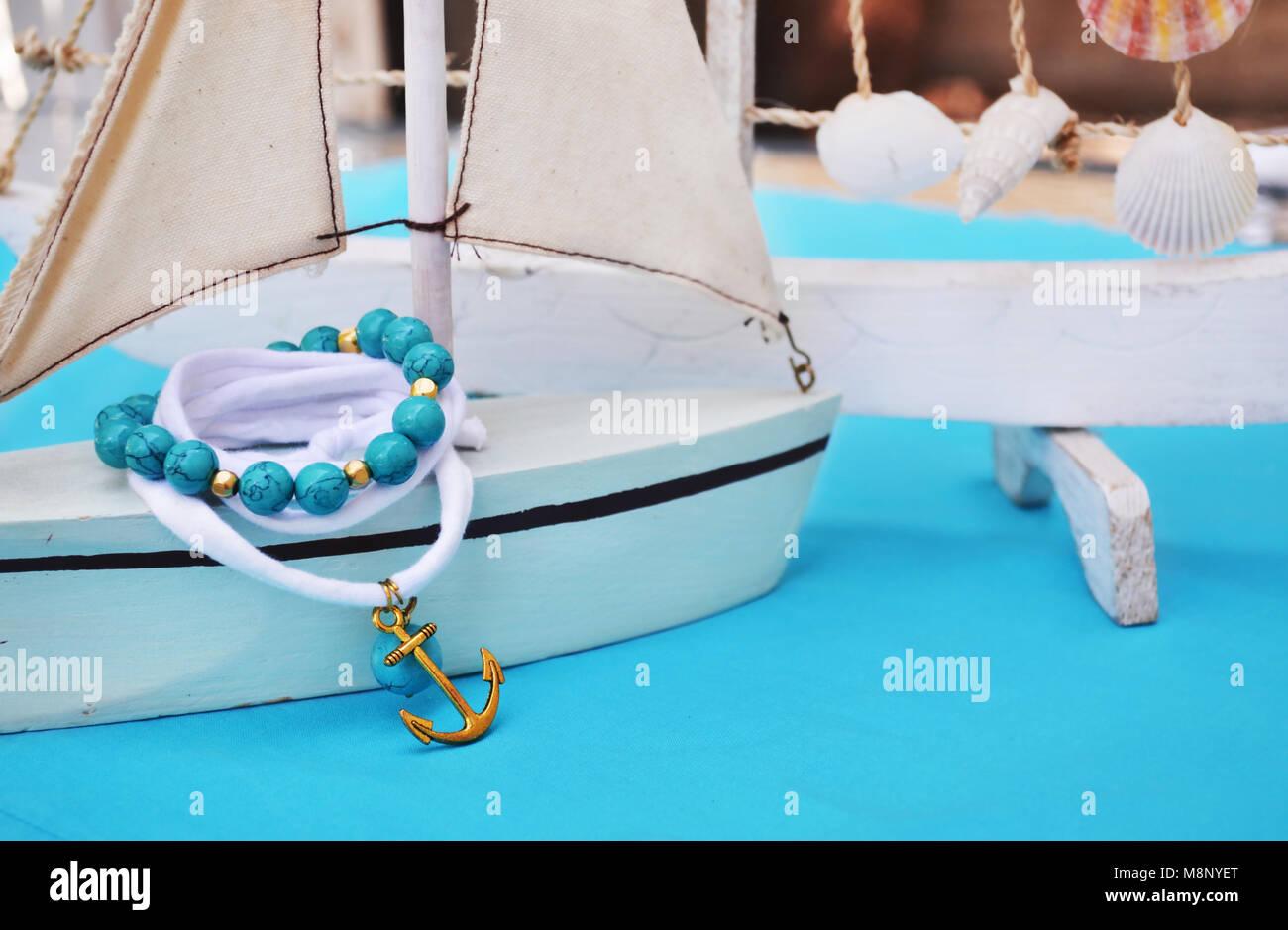 turquoise gemstone bracelet nautical jewelry with gold anchor