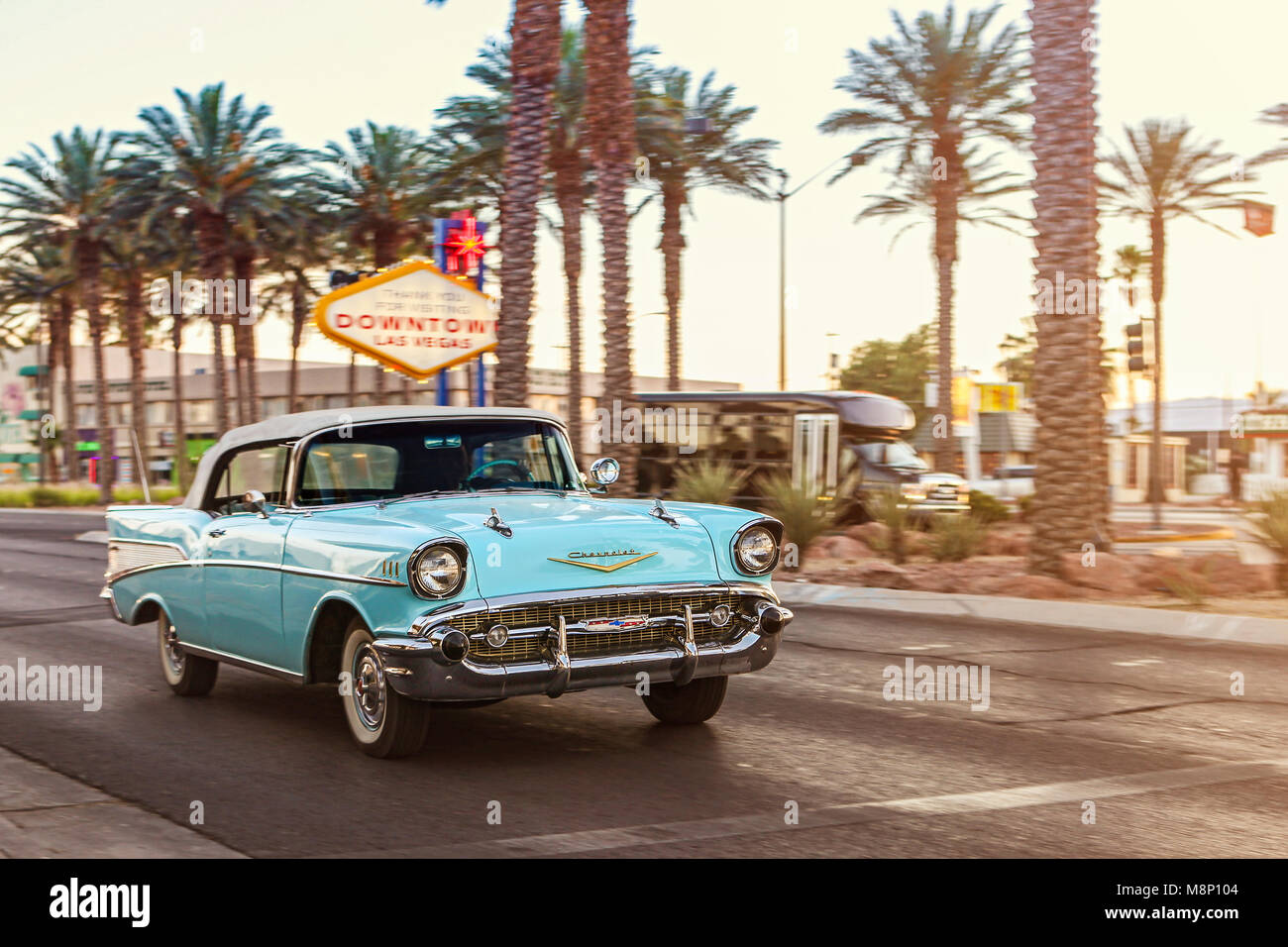 Chevrolet Las Vegas >> Classic Chevrolet In Downtown Las Vegas Stock Photo