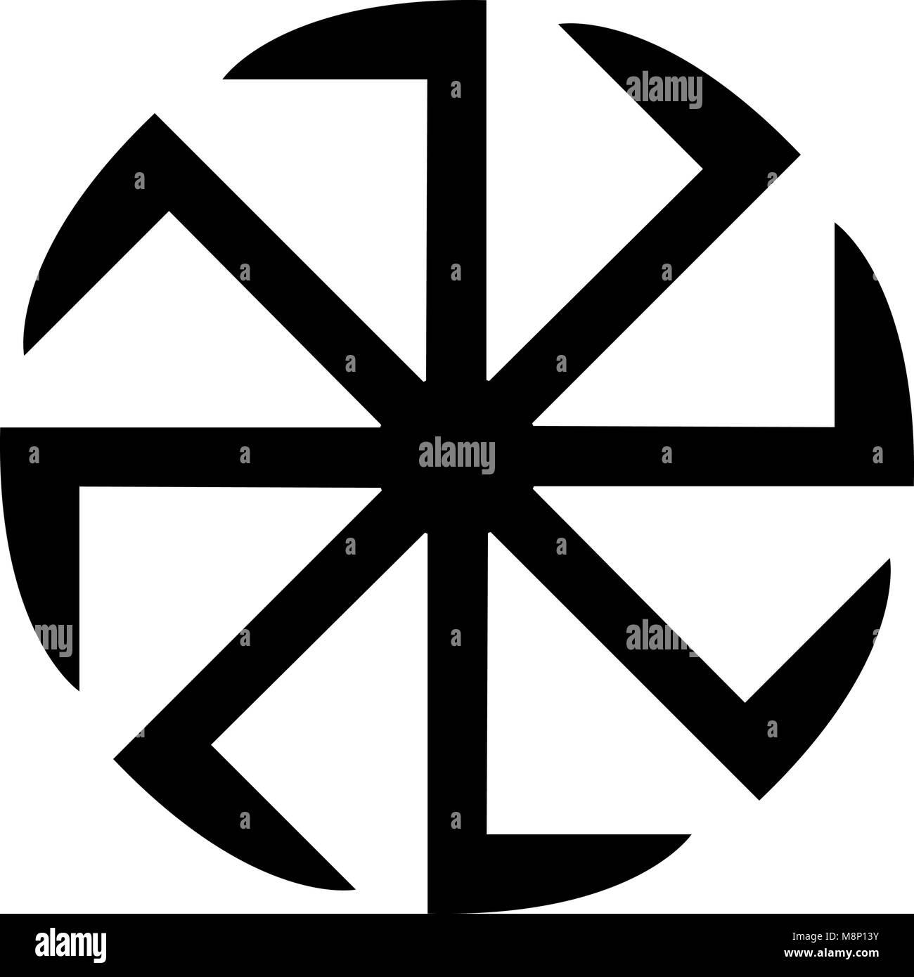 Slavic slavonis symbol Kolovrat sign sun icon black color vector illustration flat style simple image - Stock Image