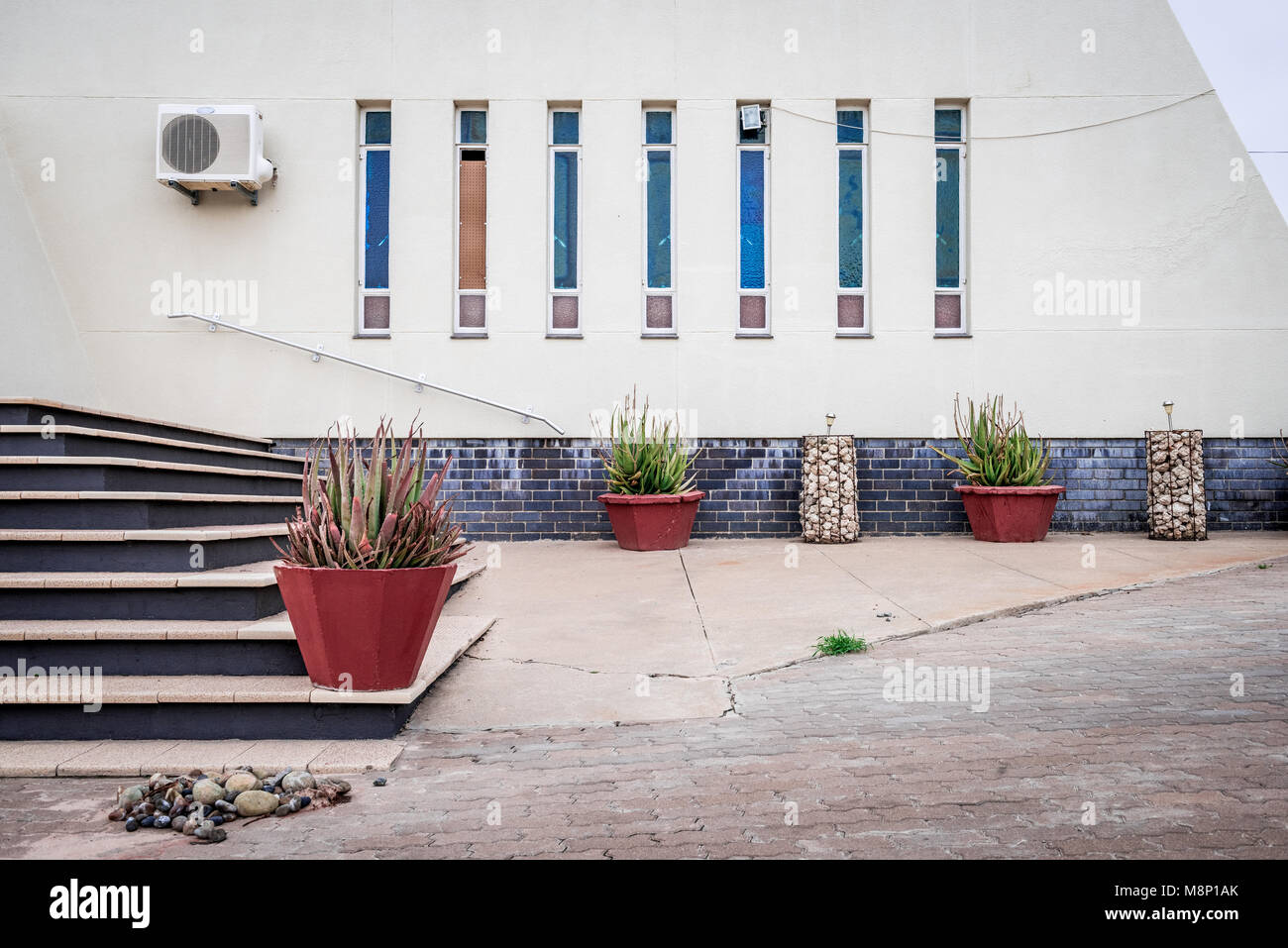 A detail of the entrance to the NGK church in Van Zylrus that dominates the small town in South Africa's Northern - Stock Image