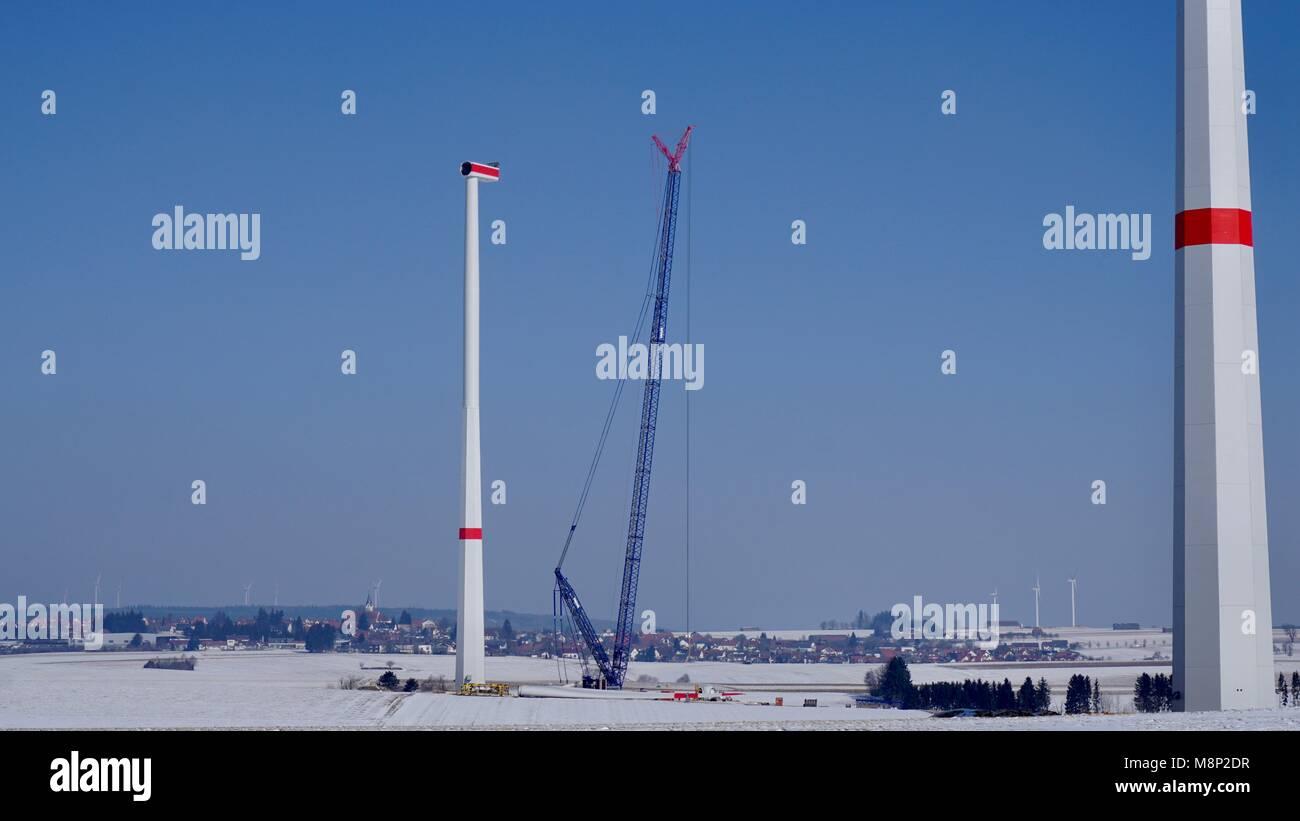 Windräder, Windkraft, Windanlagen, Windstrom, Schwäbische Alb zwischen Schwäbisch Gmünd, Göppingen - Stock Image