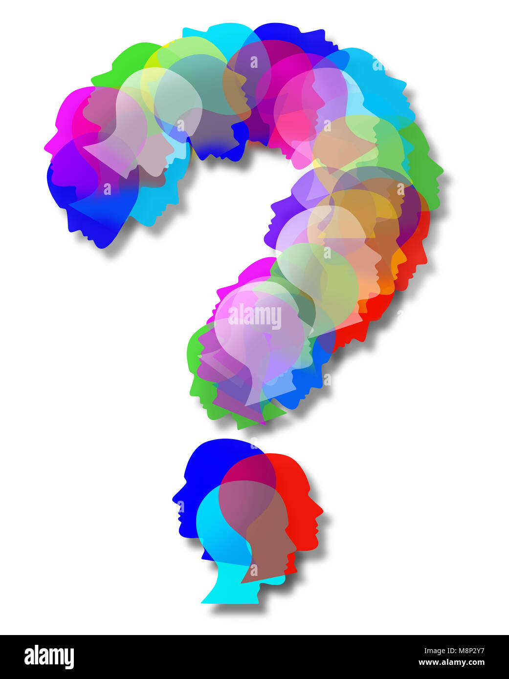 People questions as an abstract population shaped as a question mark as a symbol for society and diversity choices - Stock Image