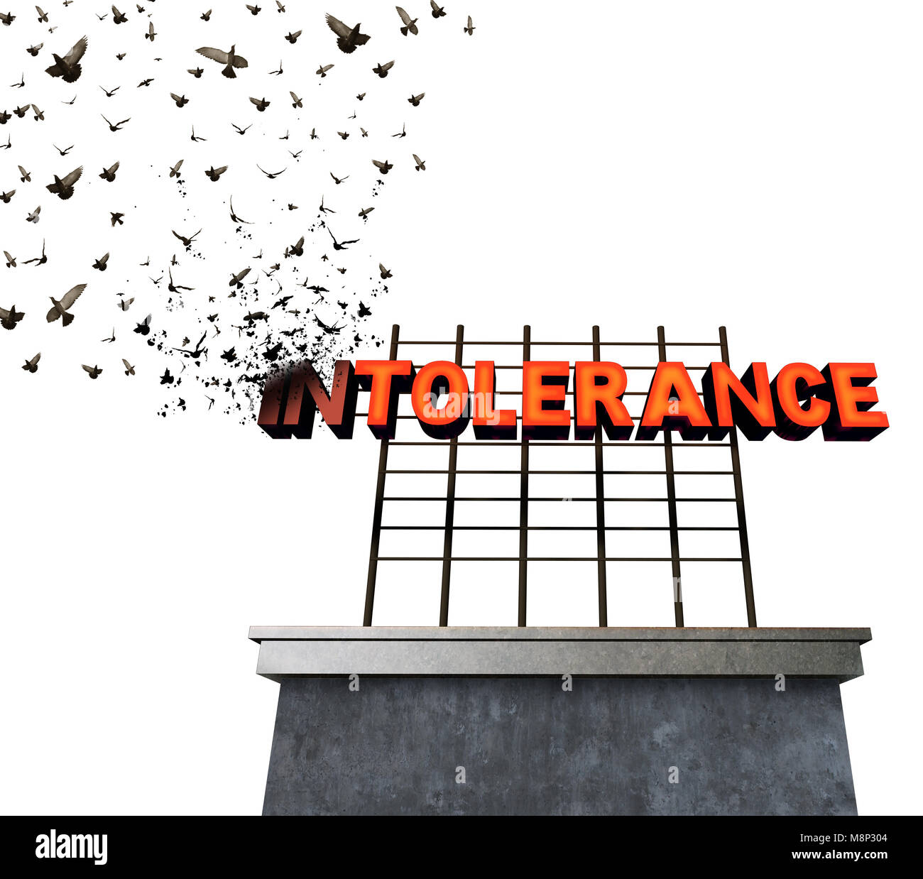 Intolerance and bigotry idea as a sign transforming to flying birds as a surreal metaphor for fighting against racism - Stock Image