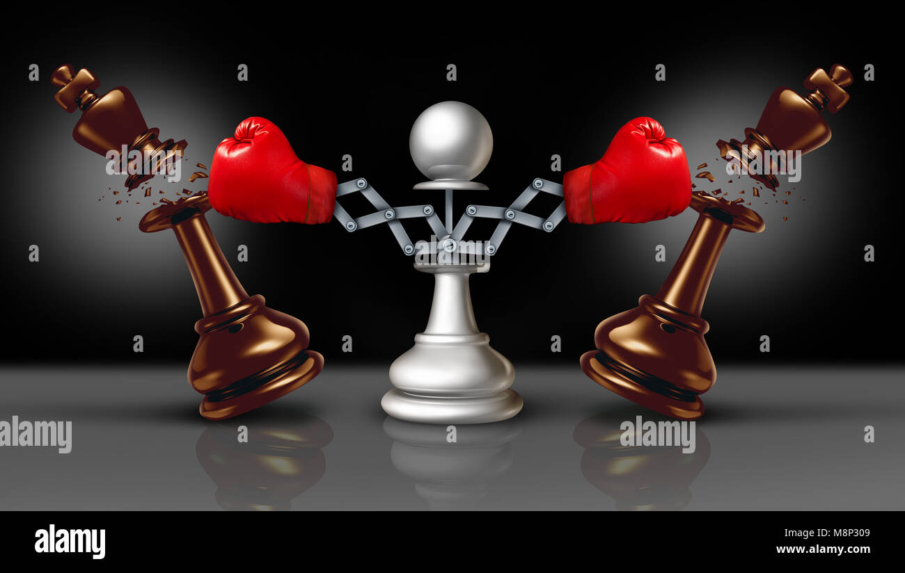 Knocking out competition business concept or knock and punch symbol as a secret weapon with a chess pawn beating - Stock Image