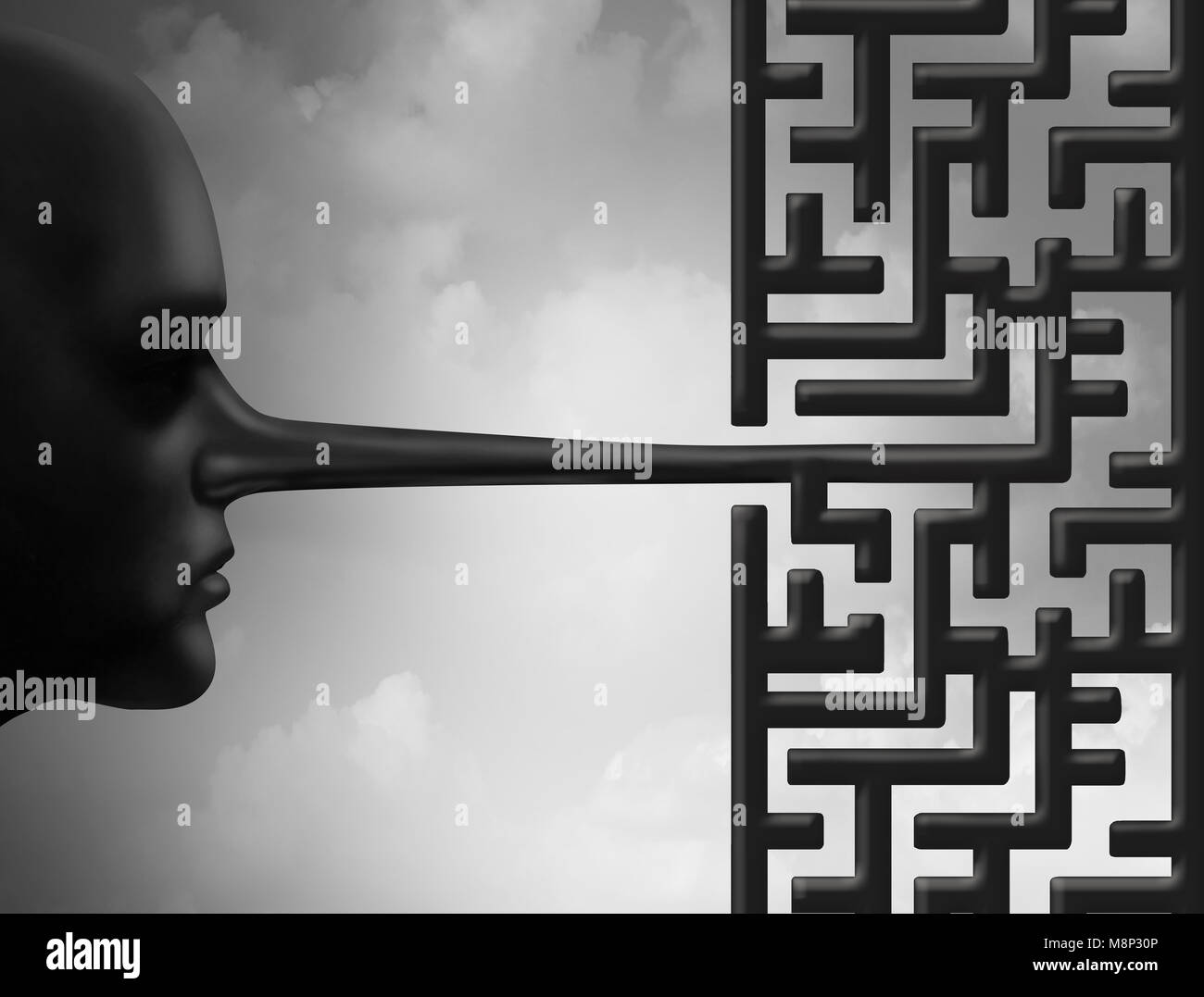 Investigate fraud and investigating corruption concept as a liar with a long nose shaped as a maze or labyrinth - Stock Image