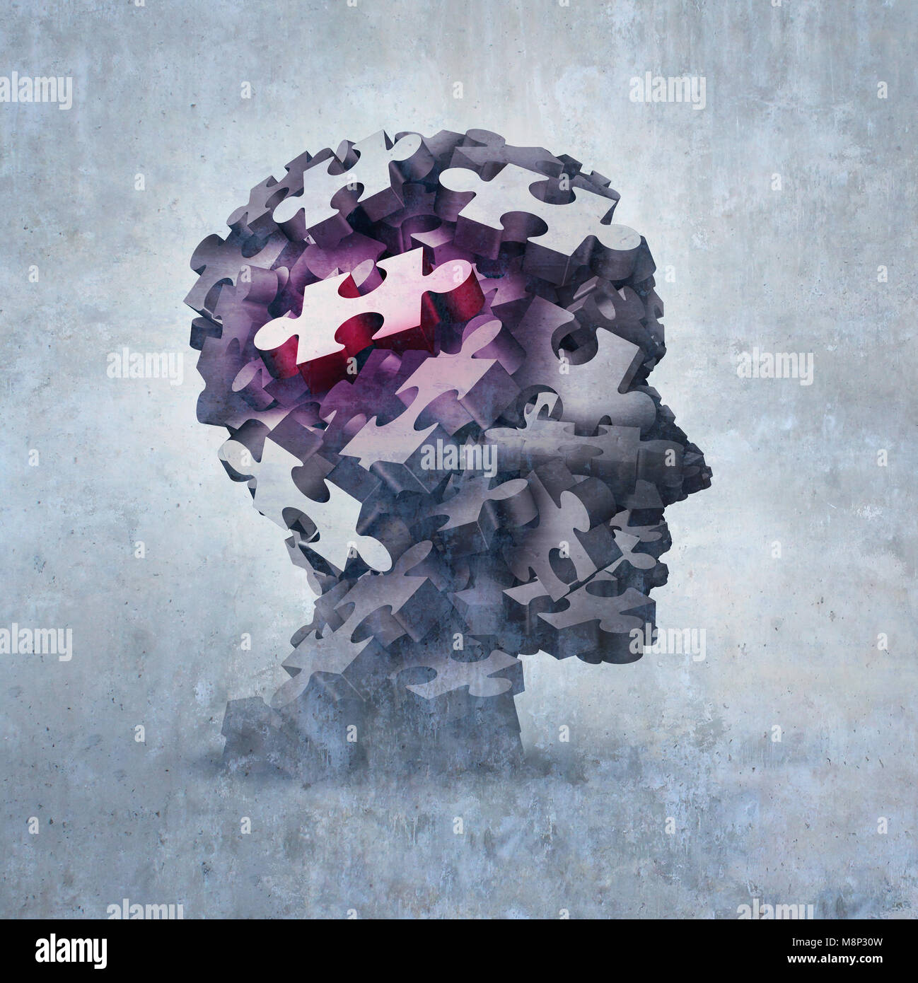 Neurosis mental disorder concept as an obsessive behavior psychiatric and psychology symbol as a 3D illustration. - Stock Image