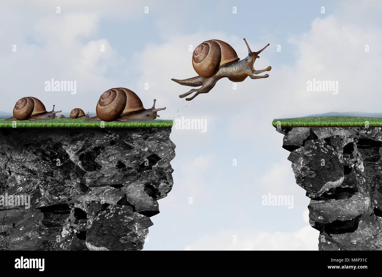Innovation leadership philosophy as a business motivation with change idea as a snail jumping over a cliff with - Stock Image