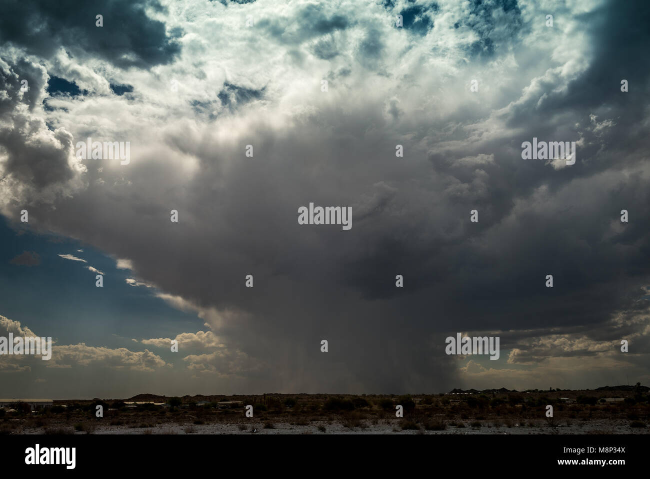 A cloudburst over the Namibian town of Keetmanshoop - Stock Image