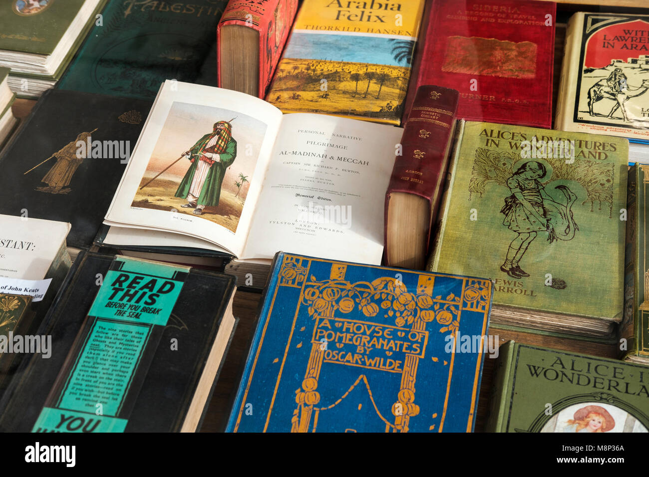 Antique books,London,UK - Stock Image