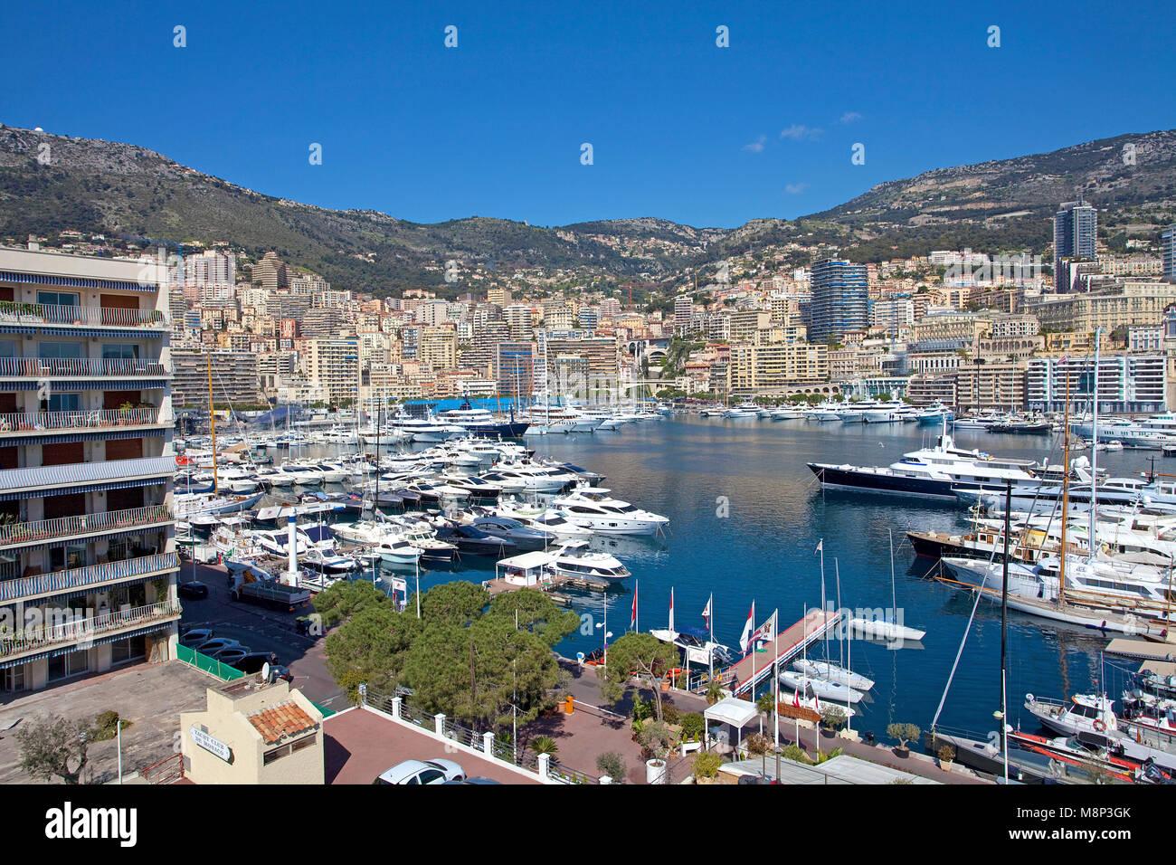 Motor yachts at Marina of Monaco, Principality of Monaco, Côte d'Azur, french riviera, Europe - Stock Image