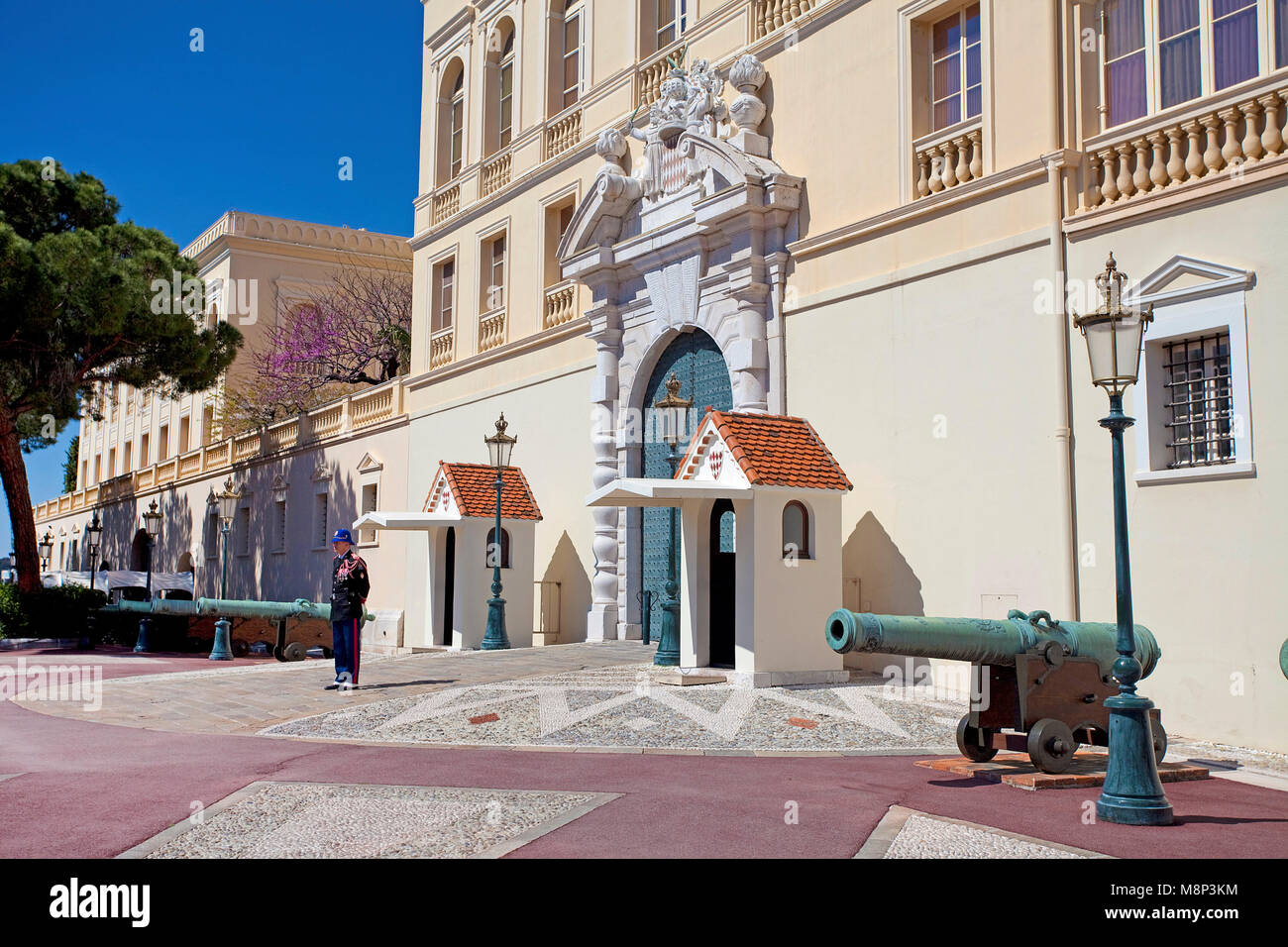 Palace Guard at Palais Princier, Princes Palace of Monaco, official residence of the Sovereign Prince of Monaco, - Stock Image