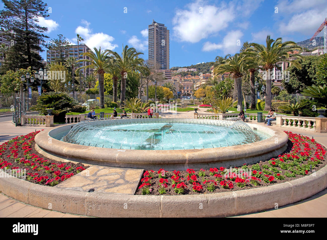 View from the park at Place du Casino on Boulevard des Moulin, Monte Carlo, Principality of Monaco, Côte d'Azur, - Stock Image