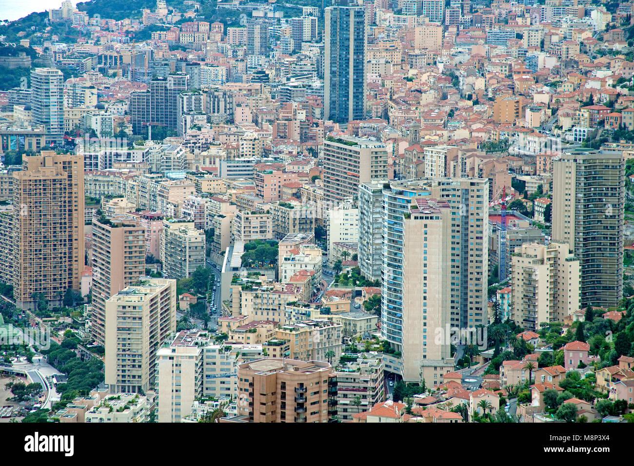Mass of houses, view on the city of Monaco, negative space, Monaco-Ville, Principality of Monaco, Europa - Stock Image