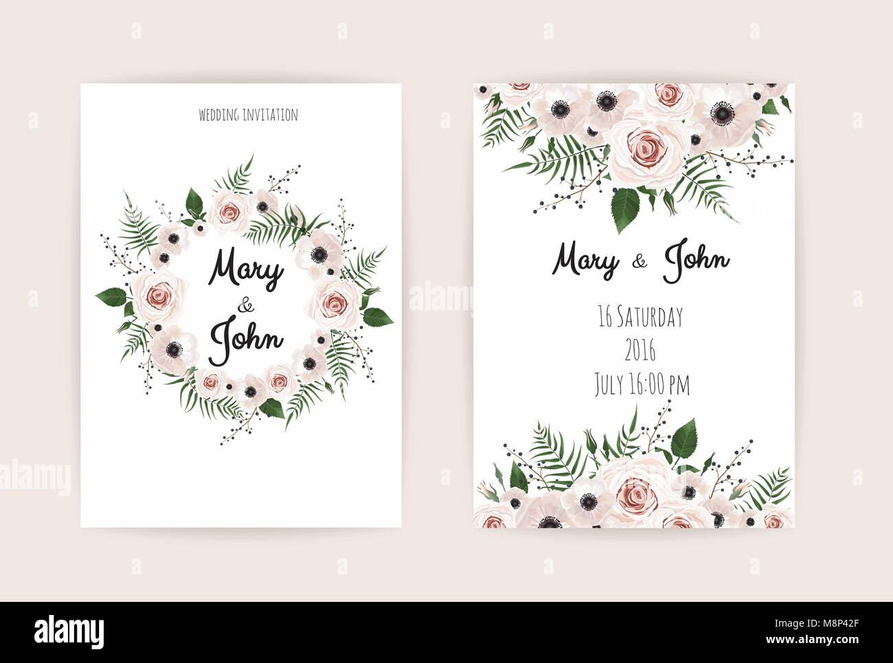 Wedding Invitation Modern Card Design Vector Elegant Watercolor Stock Vector Image Art Alamy