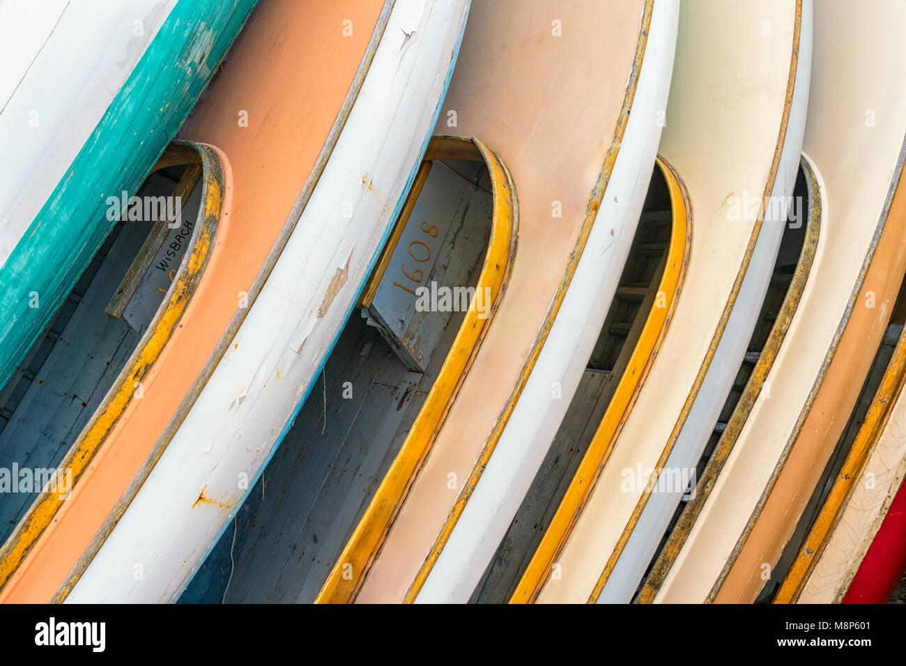 Newport Sailboats waiting for restoration at the International Yacht Restoration School, Newport, Rhode Island - Stock Image