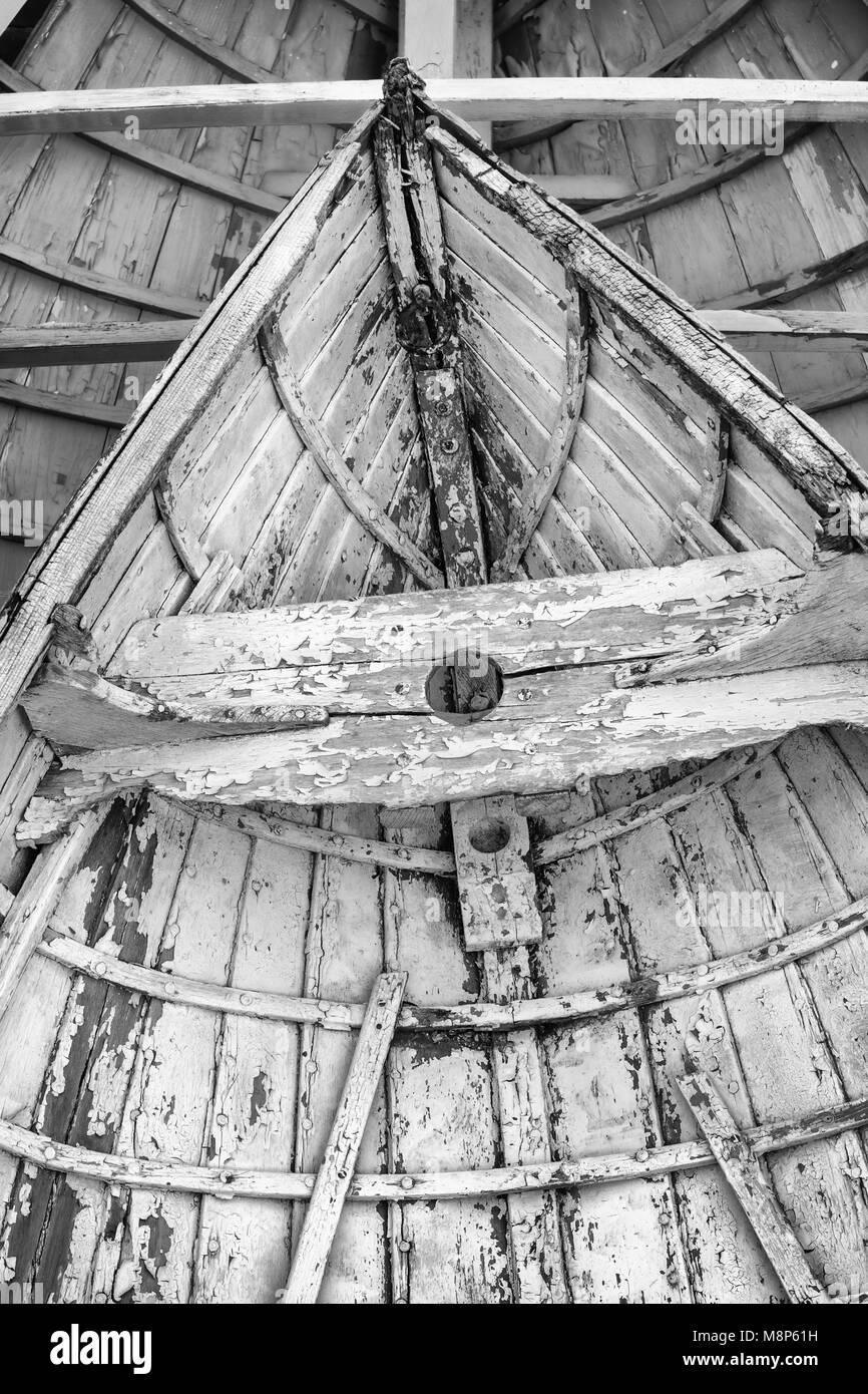 Newport Skiff waiting for restoration at the International Yacht Restoration School, Newport, Rhode Island - Stock Image