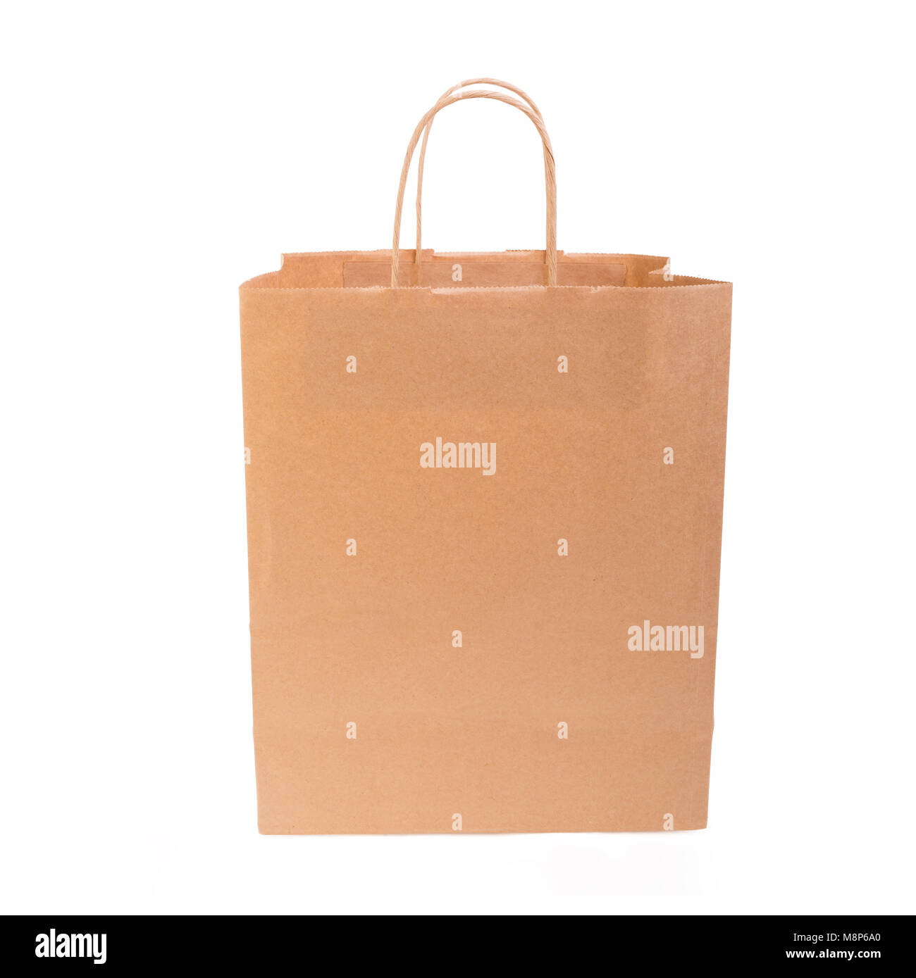 Paper bag with handles on white. - Stock Image