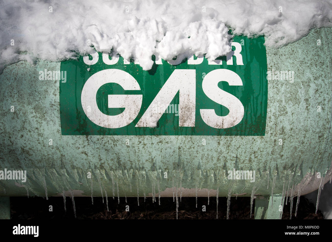 Gas bottle container for home central heating - Stock Image