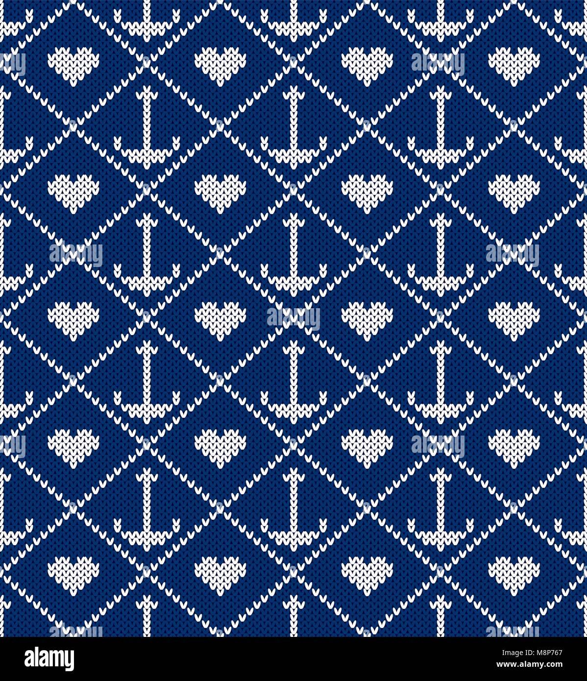 Knitted pattern an anchor and heart on a blue background. Concept of ...
