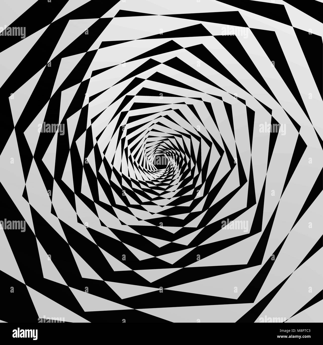The abstract geometrical background expressing illusion of infinity. Vector illustration. - Stock Vector